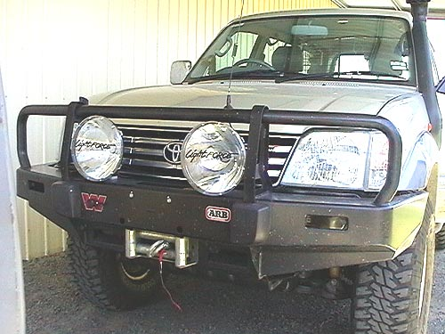 Welcome to land cruiser owners on line looking side on the light barely protrudes past the front of the bull bar this assists in keeping the lights as safe as possible aloadofball Image collections